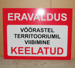 Hoiatussilt Eravaldus