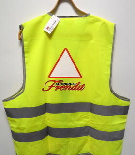 Heijastinliivi logolla Autokoulu Frendit