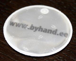 Pyöreä heijastin logolla Byhand
