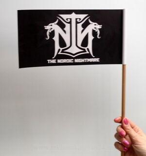 Käsilippu puinen liputankolla