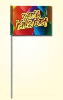 Paberist käsilipp 20x30cm kolmevärvilise trükiga, plastikust varrega